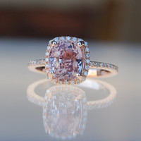 3.06ct Cushion raspberry peach champagne sapphire 14k rose gold diamond ring engagement ring