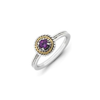 Sterling Silver and 14k Gold Plated Stackable Amethyst Solitaire Ring