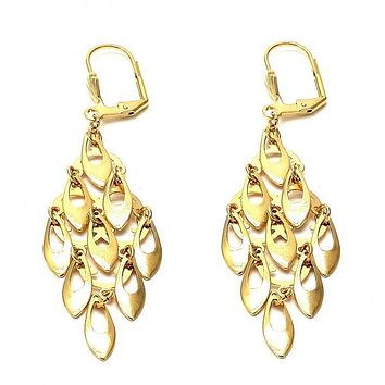 Gold Layered 02.63.2192 Chandelier Earring, Leaf Design, Polished Finish, Golden Tone