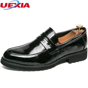UEXIA 2018 New Men Shoes Casual Pointed Toe Wedding Dress Shoes Men Leather Oxford For Zapatos Hombre Sapato Social Masculino