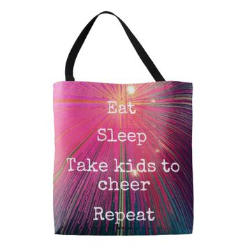 """Eat Sleep Repeat, Cheer"" quote pink tote bag"