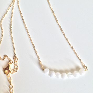 Genuine 14K Gold Wire Wrapped Moonstone Necklace
