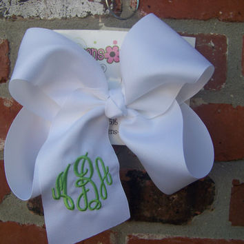 Jumbo X Large Circle Script Triple Monogram Boutique Hair Bow Choose Color Karens Creations