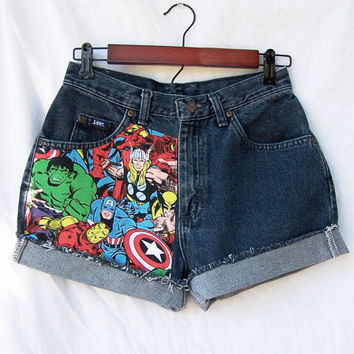 High waisted shorts superheroes comic Marvel Avengers vintage cut offs blue denim Made to order in your size