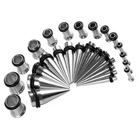 Gauges Kit 28 Tapers and Plugs Stainless Steel Tunnels 12G-0G Ear Stretching