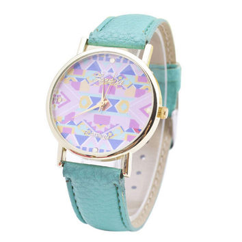 Fashion Womens Leather Strap Watch Girls Geometric Sports Casual Watches Best Christmas Gift