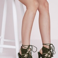 LACE UP TASSEL HEELED SANDALS WITH GOLD CHAIN DETAIL KHAKI