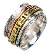 Spinner Ring - Three Tone Sterling Silver Greek Key