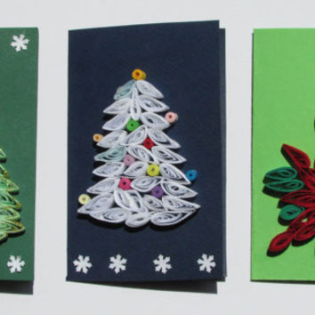 Christmas Quilling Set of 3 Quilled Paper Cards