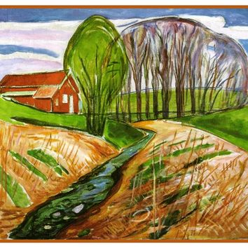 Red House in Spring by Symbolist Artist Edvard Munch Counted Cross Stitch or Counted Needlepoint Pattern