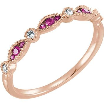 14K Rose Gold .07 CTW Diamond & Ruby Anniversary Band