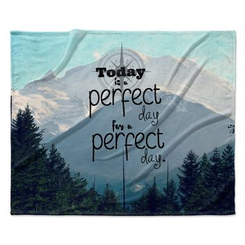 "Robin Dickinson ""A Perfect Day"" Gray Blue Fleece Throw Blanket"