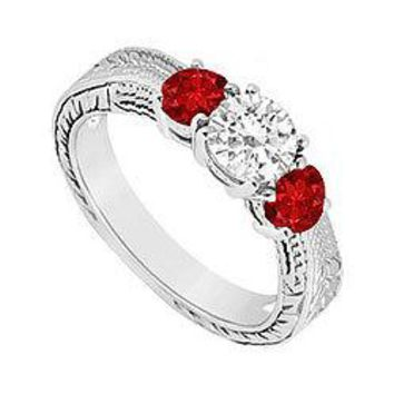 10K White Gold GF Bangkok Ruby and Cubic Zirconia Three Stone Ring 0.50 CT TGW