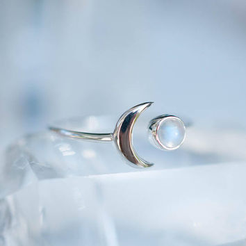 Moonstone Ring ~ Sterling Silver 925 ~Handmade ~Adjustable~ Crescent ~Half Moon ~Boho ~Hippie~ June Birthstone~ Bohemian~Gift For Her MR116
