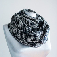 Handmade Herringbone Infinity Scarf - Tweed - Black White - Winter Autumn Scarf