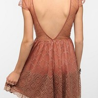 Pins and Needles Metallic Lace Deep V-Back Dress