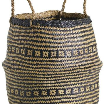 """Seagrass Woven Benni Basket with Handles - 13.5"""" Tall x 14"""" Wide"""
