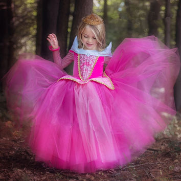 Girl Dress Sleeping Beauty Aurora Princess Full Sleeve for Kids Girls Party Dress Halloween Girls Cosplay Costume