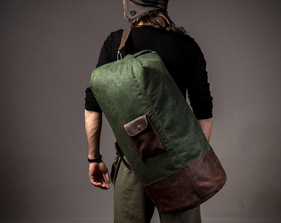 Waxed canvas duffle - military duffle bag from Tram21 on Etsy 80afe91fd90