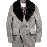 Todd Snyder + Private White Wool Peacoat in Grey Heather