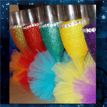 Mini Tutus with Glitter and Bling   champagne glasses * toasting glasses * bridal party glasses * wedding party glasses * birthday glasses