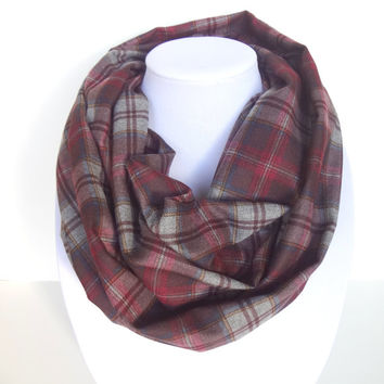Blanket Infinity Scarf, Red Checkered Scarf, Plaid scarf, Christmas scarf, Maroon Scarf, Burgundy, Zara Inspired