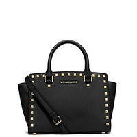 Michael Kors Women's New Fashion Medium Studded Saffiano Leather Satchel