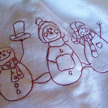 Christmas Snowmen ,Tea/Kitchen Towel , Fun gift idea for Hostess,Party,Thank you