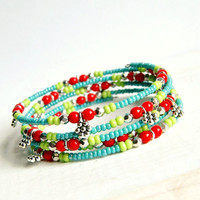 daisy drops beaded memory wire bracelet, red aqua, silver daisies, bangle, beaded bracelet, hippie, spring,