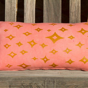 "12""x22"" Pillow Cover- Decorative Throw Pillow Cover, Coral Pink Pillow with Gold Stars"