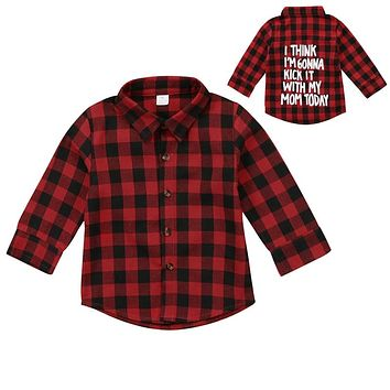 Red Plaid Fashion Toddler Kids Boy Girl Long Sleeve Back Letter Print Check Blusa T-shirt Tee Tops Clothes 2-7Y