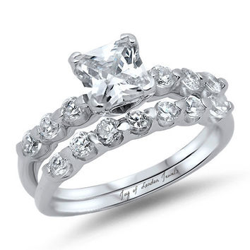 A Perfect 4CTW Princess Cut Russian Lab Diamond Bridal Set