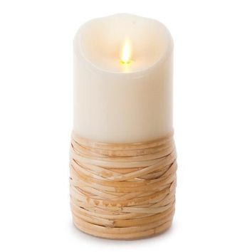 """Luminara 7"""" Reed-Wrapped Flameless Candle - Unscented"""