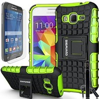 COVRWARE® Samsung Galaxy Core Prime / Prevail LTE - 3 in 1 Bundle [Terrapin Series] Dual Layer Armor Protective Case [ Kickstand ] [ Screen Protector ] [ Stylus Pen ] - Green (GW-G360-T06)