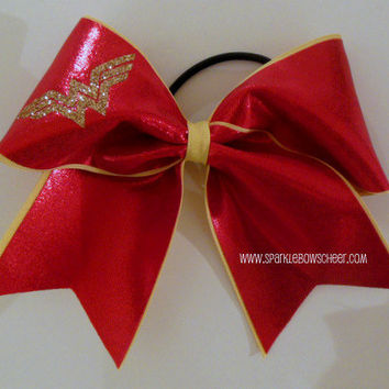 Woman Wonder Large Red W Cheer Bow Hair Bow by SparkleBowsCheer