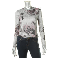 Bar III Womens Knit Floral Print Pullover Top