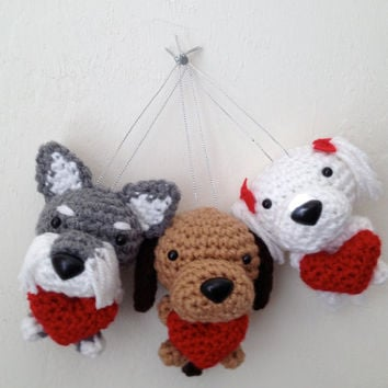 Mother's Day Dog Custom Amigurumi with a heart Crochet Puppy Handmade Plush Doll / Made to Order