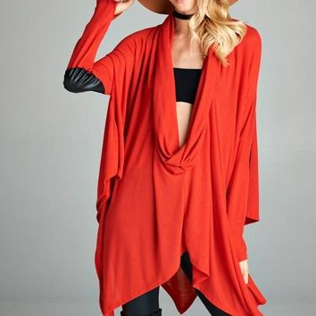 Elbow Patch Poncho Tunic Top