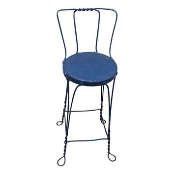 Pre-owned Blue Twisted Wire Stool