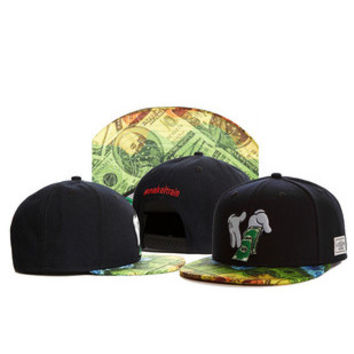 Cayler & Sons Benjamin Franklin $100 Hundred Dollar Bill Print Design Mickey Mouse Hands Counting Money Black Hip Hop Baseball Cap Snapback Hat