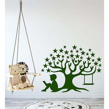 Vinyl Wall Decal Magic Tree Star Book of Fairy Tales Reading Boy Children's Room Stickers (4263ig)