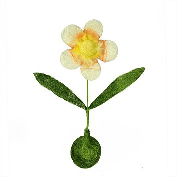 """19"""" Green  Yellow and Orange Spring Floral Table Top Decoration"""