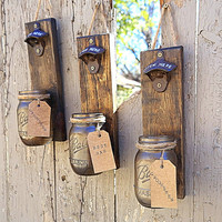 Groomsmen Gift, Rustic Bottle Opener, Beer Bottle Opener Cap Catcher with mason Jar, Pallet Wood -Best Man Gift -Husband Gift - Gift for Dad