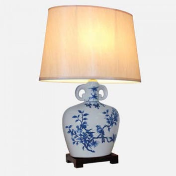 PAIR OF CHINESE FLASK TABLE LAMPS WITH SHADES - BLUE ZHI QUE