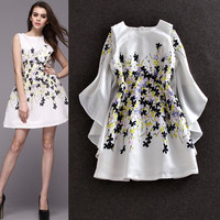 White Sleeveless Flowers Printed Swing Dress Cloak Ruched Cover Up