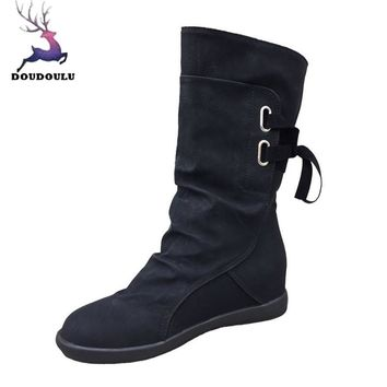 Ladies Womens Boots Low Wedge Buckle Biker Trim Flat Mid Calf Boots Shoes Woman Autumn Winter Boots botas ug australia mujer