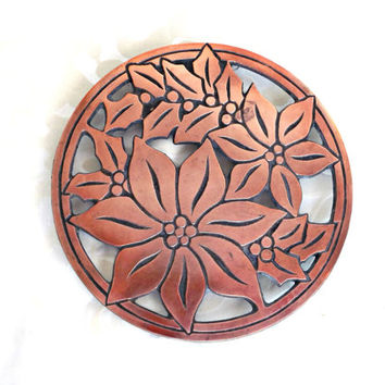 Cast Iron Trivet, Retro Trivet, Vintage Copper Finish Trivet, Retro Kitchen, Vintage Kitchen, Retro Cast Iron Trivet with Copper Finish
