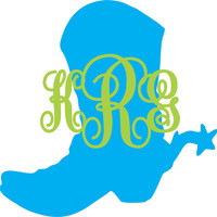 Cowboy Boot Monogram ~ Two Color ~ Custom ~ Vinyl ~ Decal ~ Sticker Cowgirl Country Western Spur