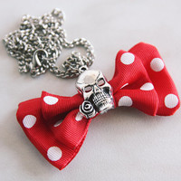 Bow with Skull Pendant Necklace