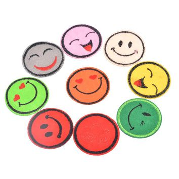 12 Iron-On Smiley Face Emoji Iron-On Patches